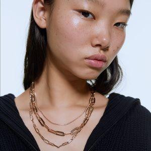 Zara women gold multi chain necklace NWT